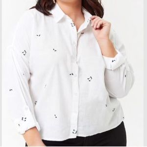 F21 | Music Notes Cotton Embroidered Button Down